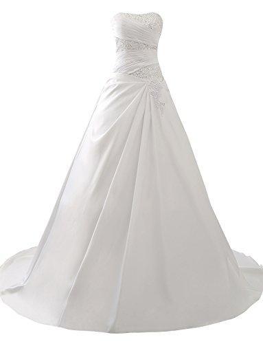 Erosebridal Neu Elfenbein Satin Brautkleid Hochzeitskleid Ballkleid DE36 -