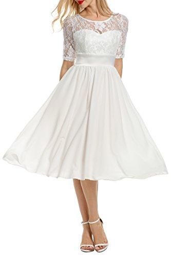 Meaneor Brautkleid Spitzenkleid Chiffonkleid 1/2 Arm Langes Kleid