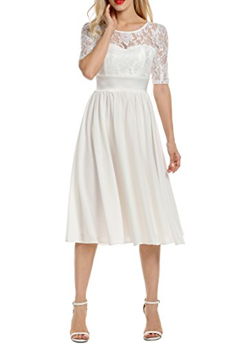 Meaneor Damen Elegant Cocktailkleid Ballkleid Abendkleid Brautkleid Brautjungfernkleid Spitzenkleid Chiffonkleid 1/2 Arm Langes Kleid Herbst ... -