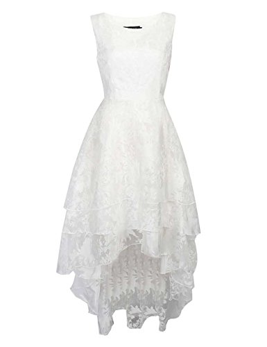 VKStar®Damen Brautkleid weiß Blumendruck Tüll Panel Multi Layer ärmellos Retro S