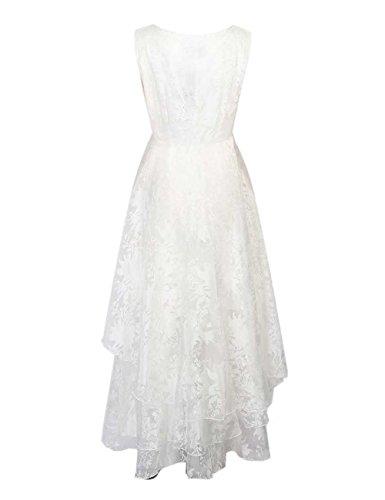 VKStar®Damen Weiß Brautkleider Blumendruck Tüll Panel Multi Layer ärmellos Retro Cocktail Brautjungfer Hochzeitskleid S -