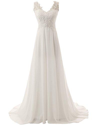 JAEDEN Elegante V-Ausschnitt Spitze Chiffon Hochzeitskleid Lang Elfenbein EUR36