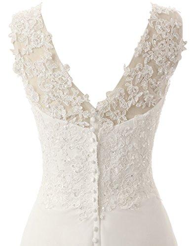 JAEDEN Elegante V-Ausschnitt Spitze Chiffon Hochzeitskleider Brautkleid Brautmode Lang Elfenbein EUR36 -