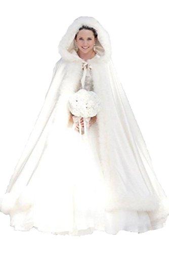 MicBridal® Elfenbein Winter Pelz Lang, Braut Mantel (Standard Größe, Elfenbein)