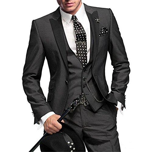 GEORGE BRIDE Herren Anzug 5-Teilig Anzug Sakko, Weste, Anzug Hose, Krawatte ,Tasche Platz 002, XL