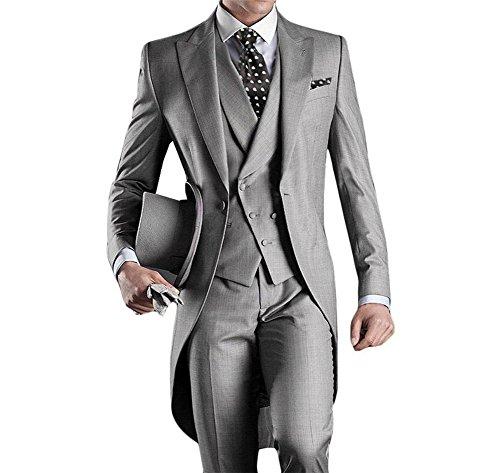 GEORGE BRIDE Herren Anzug 5-Teilig, Sakko, Weste, Hose, Krawatte, Tasche, 005, L