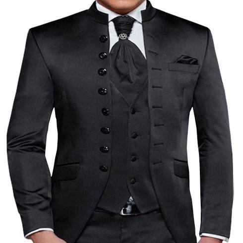 Herren Anzug - 8 teilig - Schwarz Cut Nadelstreifen Designer Hochzeitsanzug TOP ANGEBOT NEU (48) -
