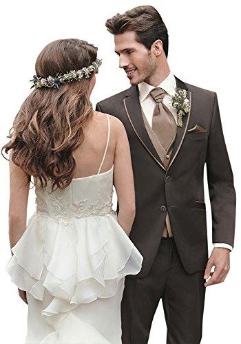 Hochzeitsanzug Mika in Eventropical uni in der Farbe Marone, mit modischem Trottoir in Cognac, Slimline Größe 50