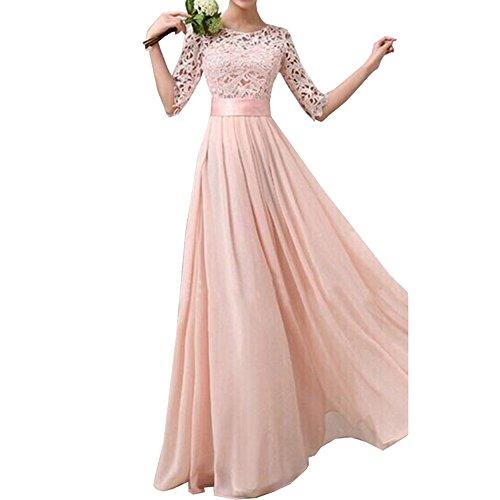 Uranus Damen Spitzen Hochzeitskleid Rosa