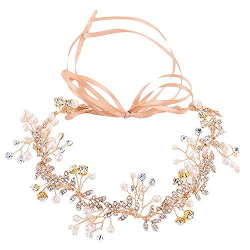 Oshide Vintage goldener Braut Haarschmuck mit Perlen und Strass