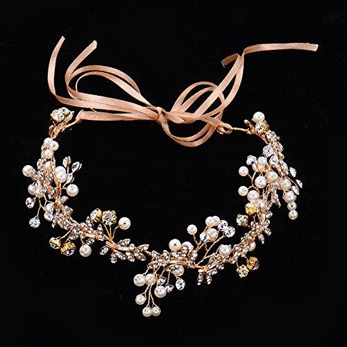 Oshide Vintage Braut Haarschmuck Golden Kopfschmuck Mit Perlen und Strass - 2