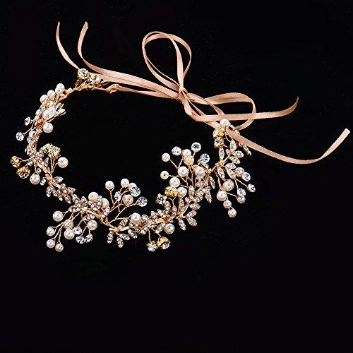 Oshide Vintage Braut Haarschmuck Golden Kopfschmuck Mit Perlen und Strass - 3