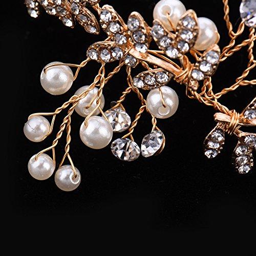 Oshide Vintage Braut Haarschmuck Golden Kopfschmuck Mit Perlen und Strass - 4