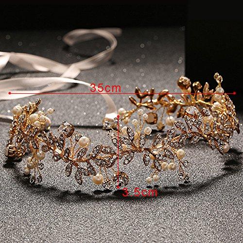 Oshide Vintage Braut Haarschmuck Golden Kopfschmuck Mit Perlen und Strass - 5