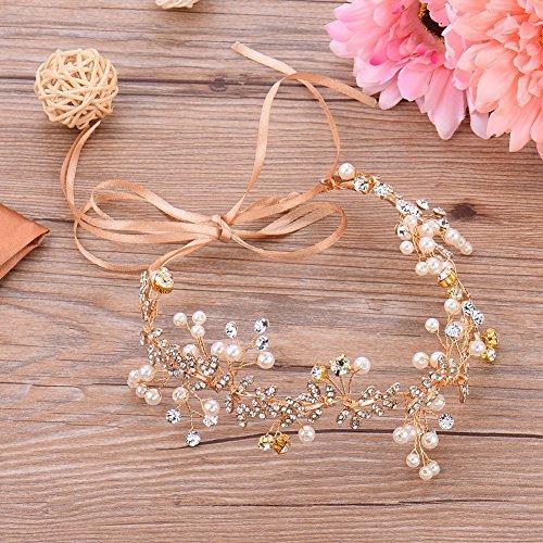 Oshide Vintage Braut Haarschmuck Golden Kopfschmuck Mit Perlen und Strass - 6