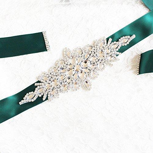 Babeyond Brautkleid Gürtel mit Kristall und Perlen Satin Band Braut Gürtel für Hochzeit Party Damen Tanzball Abschlussball Abendkleid Gürtel (Grün) - 3