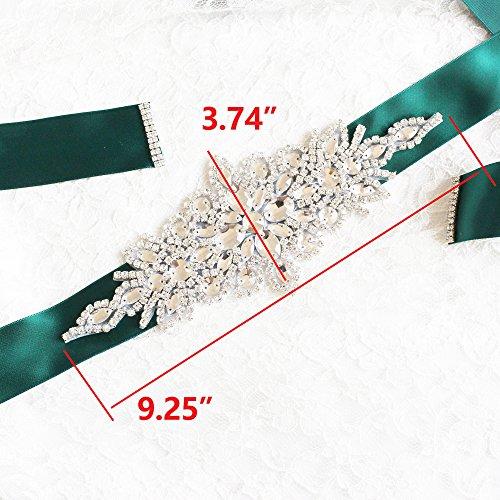 Babeyond Brautkleid Gürtel mit Kristall und Perlen Satin Band Braut Gürtel für Hochzeit Party Damen Tanzball Abschlussball Abendkleid Gürtel (Grün) - 4