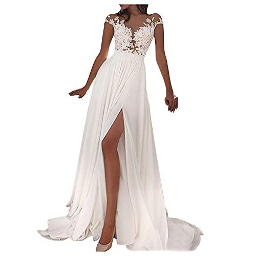 Hochzeitskleid Ärmellos V-Ausschnitt Split