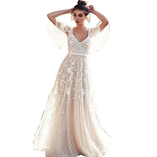 Elegantes Spitzen Brautkleid, rückenfrei