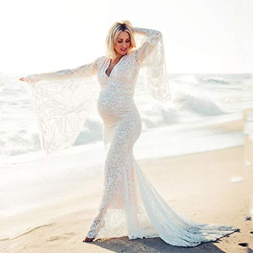 Schwangerschafts Kleid für Shooting Dasongff Abendkleid Schwangerschaftskleid Fotoshooting Umstandskleider Frauen Elegant Schulterfreies Spitzenkleid Maxikleid Umstandsmode Festlich Hochzeitskleid - 4