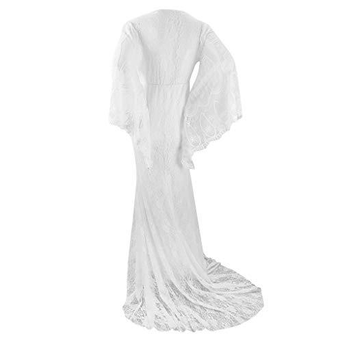 Schwangerschafts Kleid für Shooting Dasongff Abendkleid Schwangerschaftskleid Fotoshooting Umstandskleider Frauen Elegant Schulterfreies Spitzenkleid Maxikleid Umstandsmode Festlich Hochzeitskleid - 7