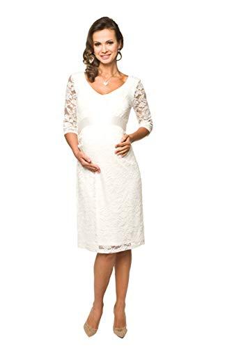 Torelle Damen Umstandskleid Brautkleid für Schwangere, Modell: LACE, 3/4 Arm, Creme, L