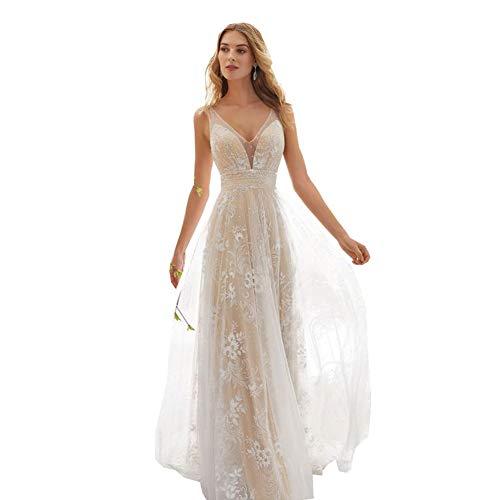 langes Hochzeitskleid mit Spitze, rückenfrei
