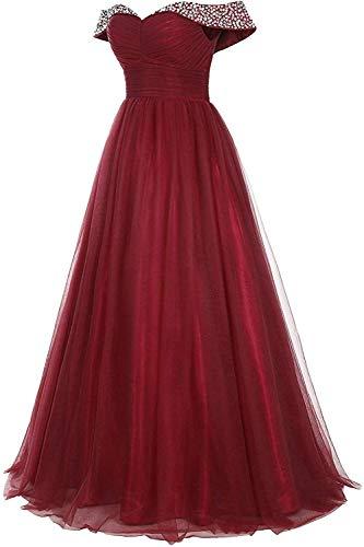 Abendkleider Lang Tüll Ballkleider Glitzer Brautjungfernkleider A-Linie Schulterfrei Hochzeitskleid Festkleider Rückenfrei Navy 40 - 2