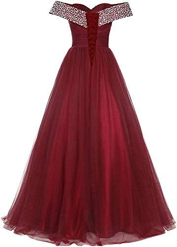 Abendkleider Lang Tüll Ballkleider Glitzer Brautjungfernkleider A-Linie Schulterfrei Hochzeitskleid Festkleider Rückenfrei Navy 40 - 3
