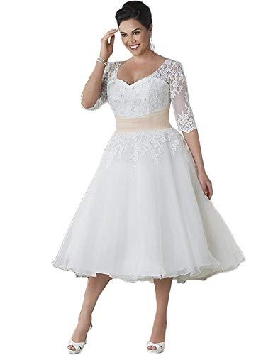 HUINI Hochzeitskleid, Spitze, große Größen, Wandenlang mit Ärmel