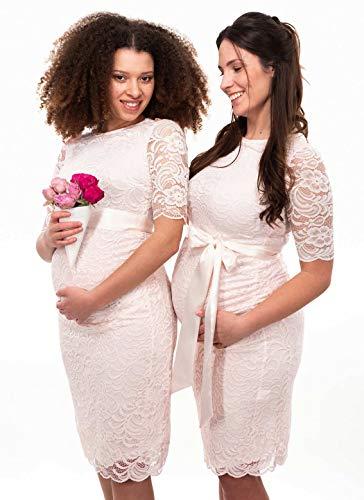 Herzmutter Umstands-Spitzen-Kleid - Elegantes-knielanges-Schwangerschafts-Kleid - für Festliche Anlässe-Hochzeit-Feier - Mit Spitze - Creme-Champagner-Blau-Rot-Rosé - 6200 (Creme, M) - 9