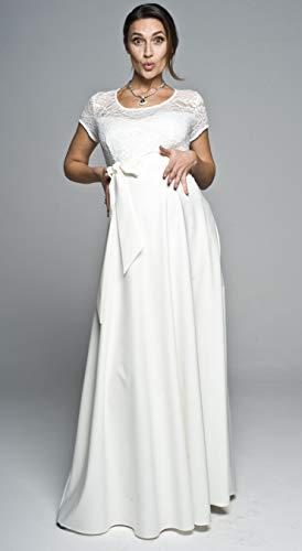 Torelle Maternity Wear Damen Umstandskleid Brautkleid Spitze für Schwangere, Modell: Natalie, Creme, L - 5