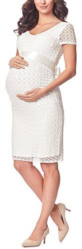Umstandskleid festlich aus Spitze Kurze Ärmel Maternity BE20-162 (Ecru2, L)