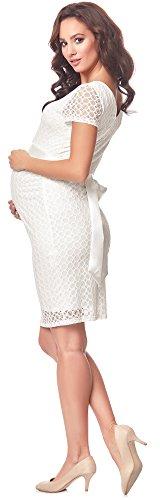 Be Mammy Damen Umstandskleid festlich aus Spitze Kurze Ärmel Maternity Schwangerschaftskleid BE20-162 (Ecru2, L) - 2