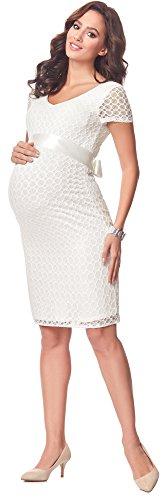 Be Mammy Damen Umstandskleid festlich aus Spitze Kurze Ärmel Maternity Schwangerschaftskleid BE20-162 (Ecru2, L) - 3