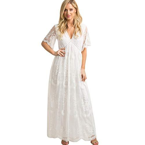FYMNSI Schwangerschaftskleid Umstandskleid V-Ausschnitt Maxikleid Kurzarm Spitzenkleid Lang Mutterschaftskleid Umstandsmode Mutterschaft Kleidung Hochzeitskleid Partykleid Fotografie Kostüm Weiß - 2