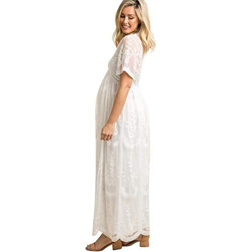 FYMNSI Schwangerschaftskleid Umstandskleid V-Ausschnitt Maxikleid Kurzarm Spitzenkleid Lang Mutterschaftskleid Umstandsmode Mutterschaft Kleidung Hochzeitskleid Partykleid Fotografie Kostüm Weiß - 3
