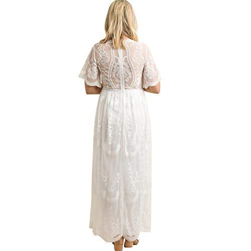 FYMNSI Schwangerschaftskleid Umstandskleid V-Ausschnitt Maxikleid Kurzarm Spitzenkleid Lang Mutterschaftskleid Umstandsmode Mutterschaft Kleidung Hochzeitskleid Partykleid Fotografie Kostüm Weiß - 4