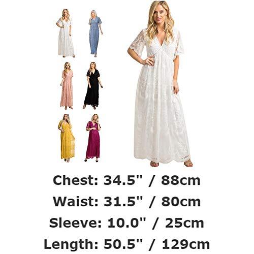 FYMNSI Schwangerschaftskleid Umstandskleid V-Ausschnitt Maxikleid Kurzarm Spitzenkleid Lang Mutterschaftskleid Umstandsmode Mutterschaft Kleidung Hochzeitskleid Partykleid Fotografie Kostüm Weiß - 6