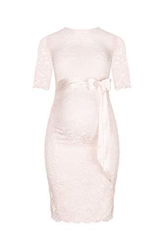 Elegantes-knielanges-Schwangerschafts-Kleid  (Creme, L)