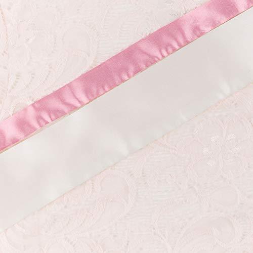Herzmutter Umstands-Spitzen-Kleid - Elegantes-knielanges-Schwangerschafts-Kleid - für Festliche Anlässe-Hochzeit-Feier - Mit Spitze - Creme-Champagner-Blau-Rot-Rosé - 6200 (Creme, L) - 3