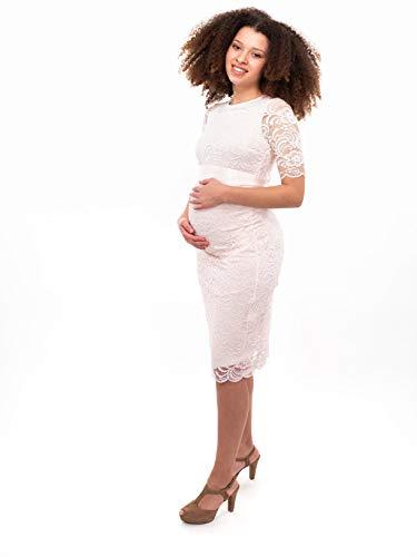 Herzmutter Umstands-Spitzen-Kleid - Elegantes-knielanges-Schwangerschafts-Kleid - für Festliche Anlässe-Hochzeit-Feier - Mit Spitze - Creme-Champagner-Blau-Rot-Rosé - 6200 (Creme, L) - 6