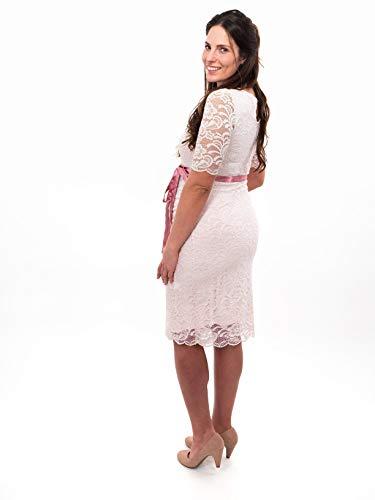Herzmutter Umstands-Spitzen-Kleid - Elegantes-knielanges-Schwangerschafts-Kleid - für Festliche Anlässe-Hochzeit-Feier - Mit Spitze - Creme-Champagner-Blau-Rot-Rosé - 6200 (Creme, L) - 7