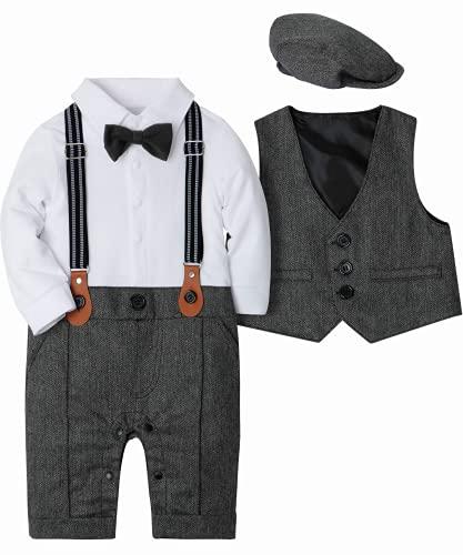SANMIO Baby Bekleidung Set, Taufe 3tlg Fliege, Weste, Hut, 6-9 Monate (Körpergröße 70), Grau