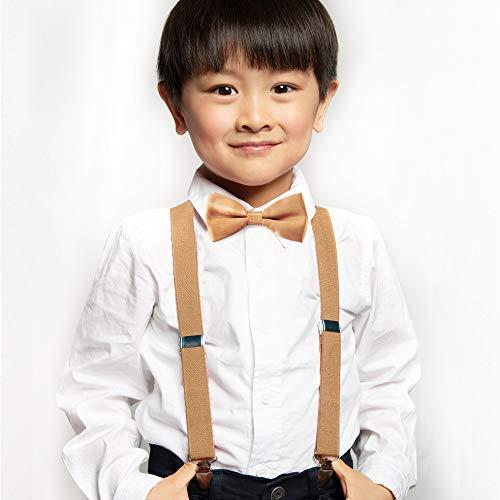 axy® Vater-Sohn Partnerlook Hosenträger mit Fliege Set für Herren-Damen-Kinder (Beige (Herren 2,5cm + Kinder Hosenträger Breit 2,5cm)) - 3