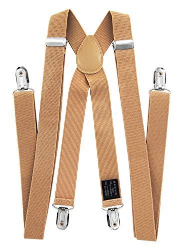 axy® Vater-Sohn Partnerlook Hosenträger mit Fliege Set für Herren-Damen-Kinder (Beige (Herren 2,5cm + Kinder Hosenträger Breit 2,5cm)) - 4