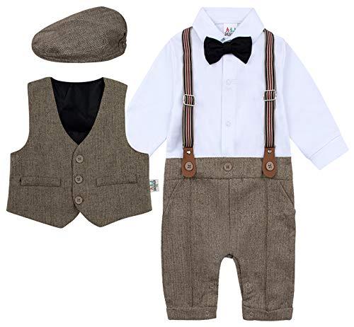 mintgreen Hochzeit Taufe Anzug Set, Braun, 9-12 Monate