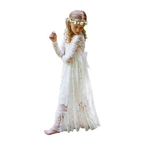 Kinder Prinzessinnenkleid mit Binde Gürtel (Elfenbein, Größe 8)