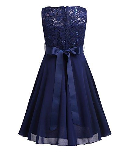 iEFiEL Sweet Prinzessin Lace Blumenmädchenkleider für Hochzeits Brautjungfern Festzug Partei Festliches Kleid Gr. 92-170 A Marineblau 164 - 2