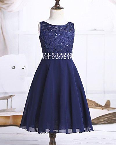 iEFiEL Sweet Prinzessin Lace Blumenmädchenkleider für Hochzeits Brautjungfern Festzug Partei Festliches Kleid Gr. 92-170 A Marineblau 164 - 3